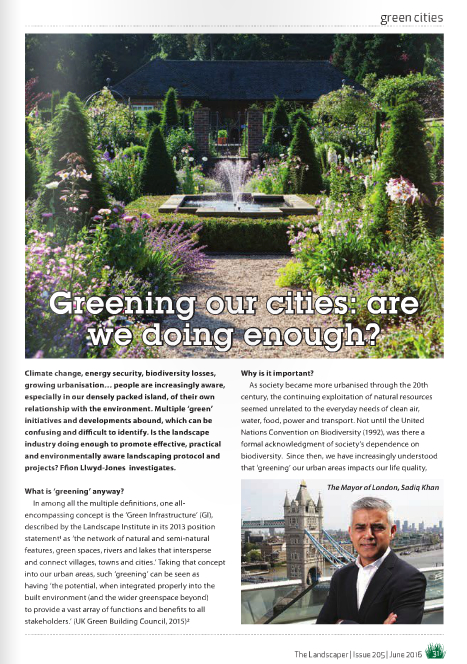 Greening our Cities: Are we doing enough, or do we need a law for landscaping?